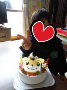 お祝いケーキ、しまじろう、